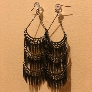 Black spiked chandelier earrings